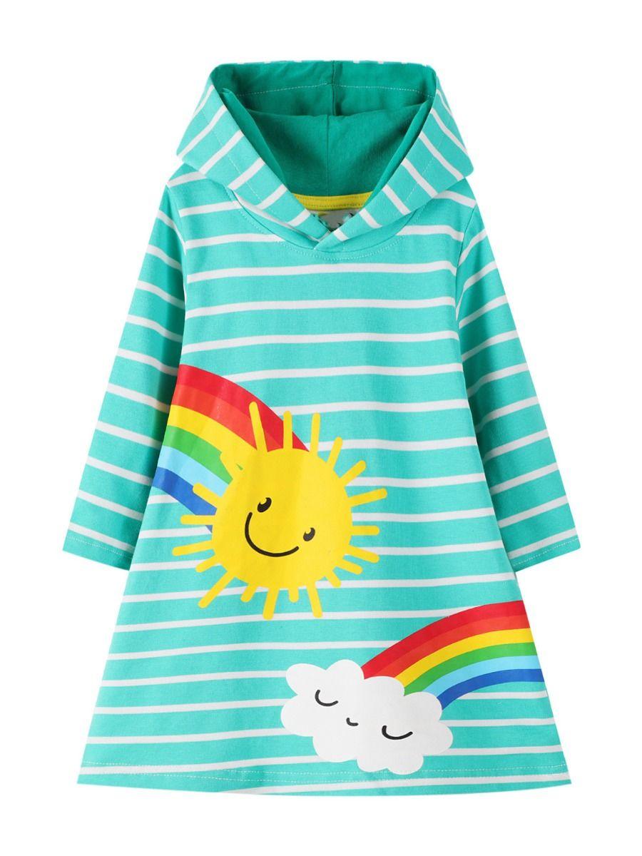Striped Rainbow Sun Print Long Sleeve Hooded Dresses For Girl  Wholesale 2