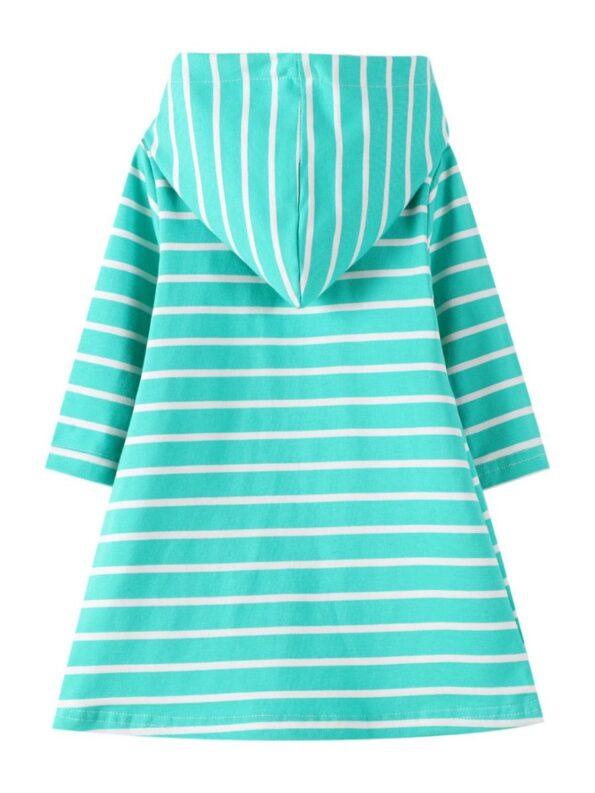 Striped Rainbow Sun Print Long Sleeve Hooded Dresses For Girl  Wholesale 8
