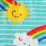 Striped Rainbow Sun Print Long Sleeve Hooded Dresses For Girl  Wholesale 5