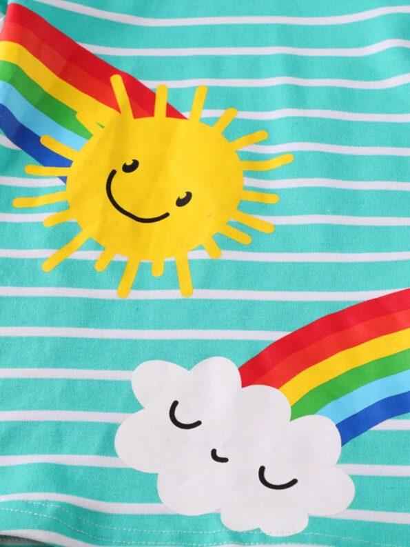 Striped Rainbow Sun Print Long Sleeve Hooded Dresses For Girl  Wholesale 10
