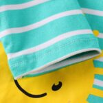 Striped Rainbow Sun Print Long Sleeve Hooded Dresses For Girl  Wholesale 6