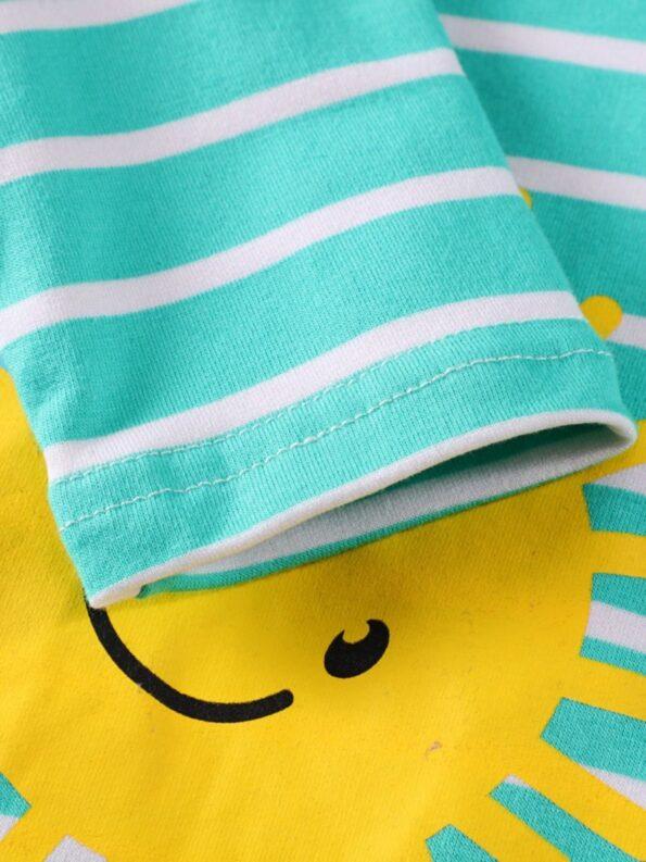 Striped Rainbow Sun Print Long Sleeve Hooded Dresses For Girl  Wholesale 11