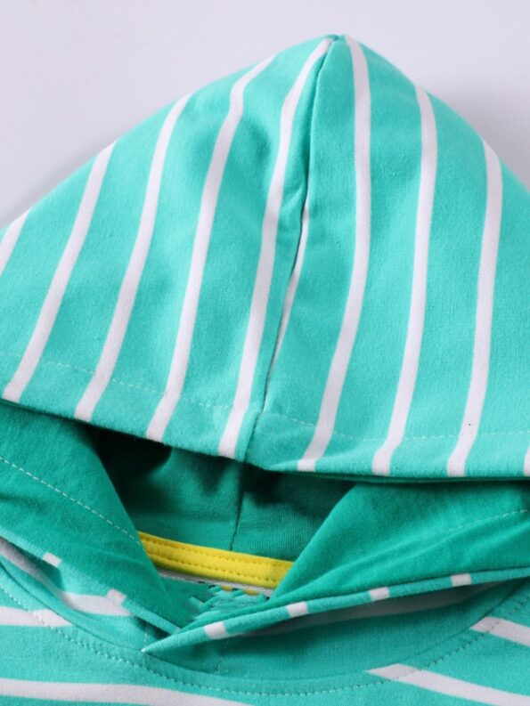 Striped Rainbow Sun Print Long Sleeve Hooded Dresses For Girl  Wholesale 9