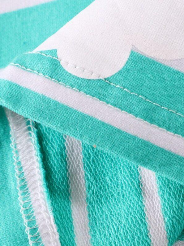 Striped Rainbow Sun Print Long Sleeve Hooded Dresses For Girl  Wholesale 12