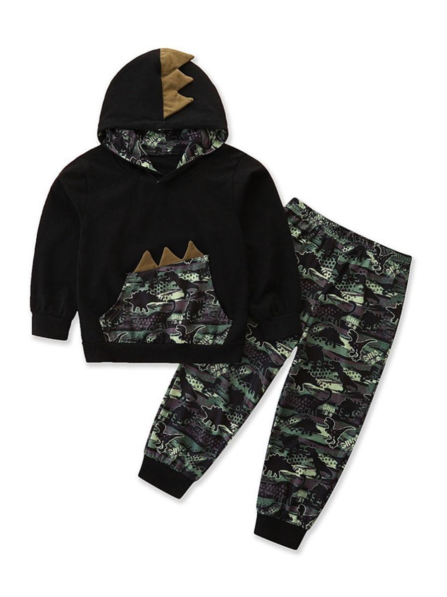Dinosaur Print Pajama Set For Boys Top With Shorts 13