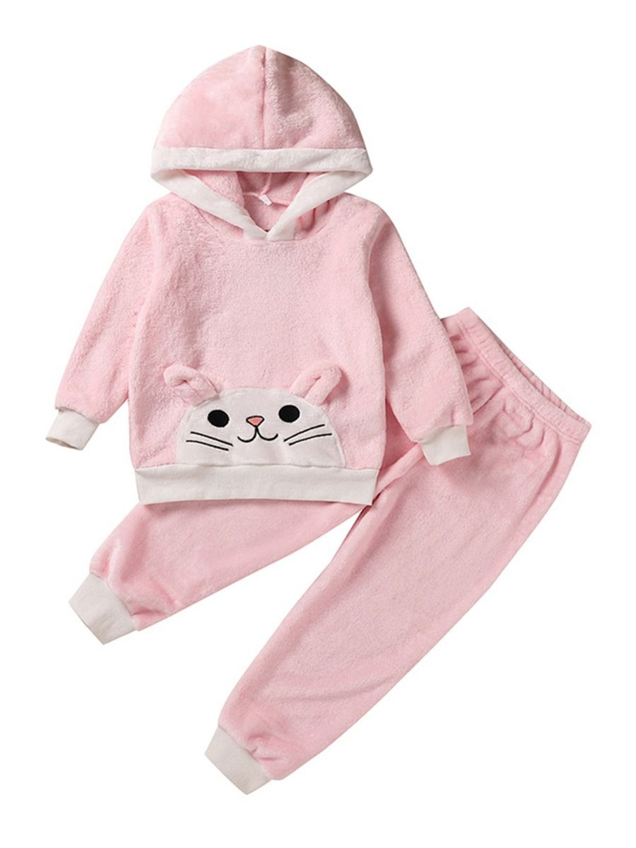 Two Pieces Cat Coral Fleece Kid Girls Outfits Sets Hooded Pants