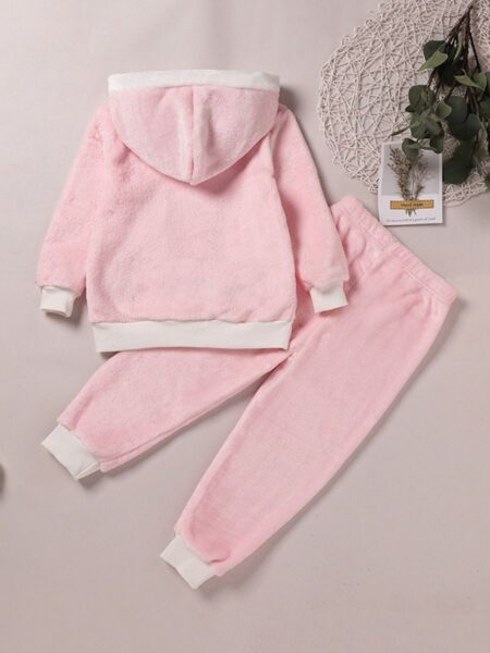 Two Pieces Cat Coral Fleece Kid Girls Outfits Sets Hooded Pants 2