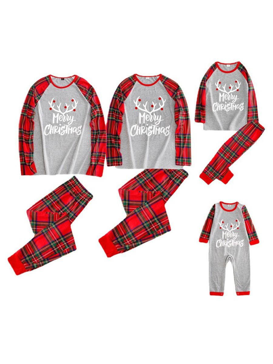 Christmas Family Matching Checked Print Pajamas Sets Dress Shirt Trousers Dresses 2021-08-28