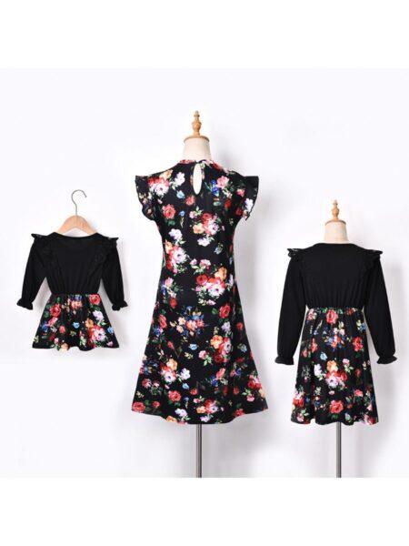 Flower Print Mommy And Me Flutter Sleeve Dresses Wholesale Dresses 2021-08-27