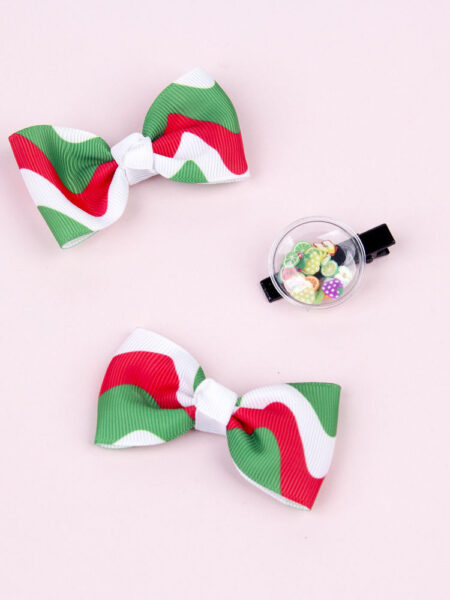 3 Pack Little Girl Christmas Bow Hairpins 2
