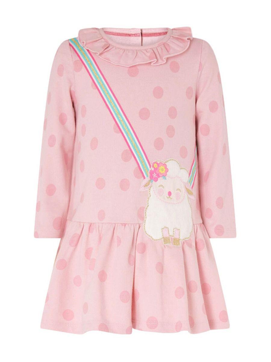 Polka Dots Sheep Print Ruffle Collar Dresses For Girl  Wholesale