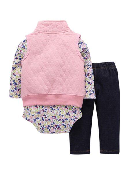3 Pieces Polka Dots Flower Print Stand-up Collar Vest & Bodysuit & Pants Sets  Wholesale BABIES 2021-08-23