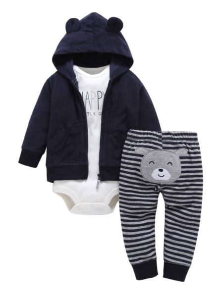 3 Pieces Bear Cartoon Striped Print Baby Outfits Sets Hooded Bodysuit Pants  Wholesale BABIES 2021-08-23