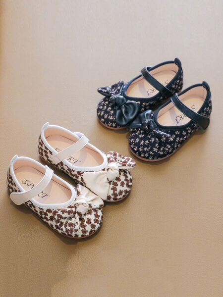 Kid Girl Floral Print Retro Shoes 2