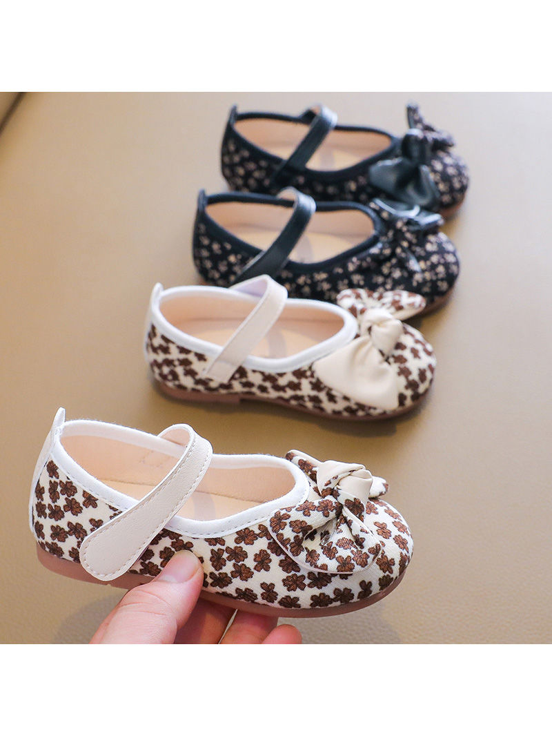 Kid Girl Floral Print Retro Shoes
