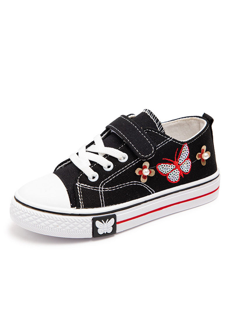 Butterfly Beaded Kid Girl Canvas Shoes
