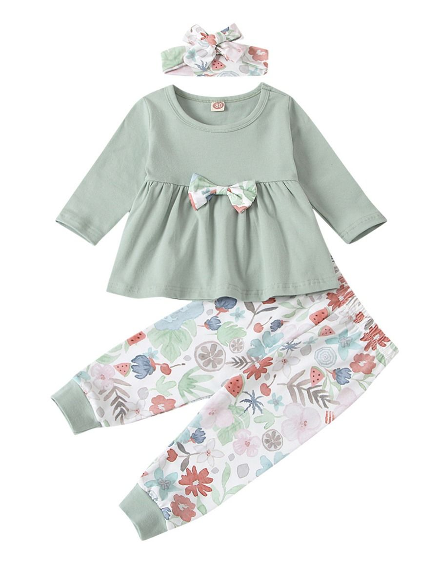 Three Pieces Flower Print Baby Girl Clothing Sets Bow Top Trousers Headband  Wholesale Girls BABIES 2021-08-23