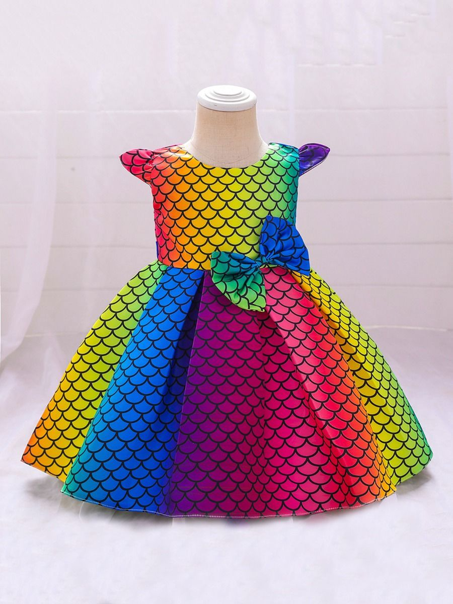 Rainbow Fish Scales Print Flutter Sleeve Party Dress Wholesale Little Girl Clothing  Wholesale BABIES 2021-08-20