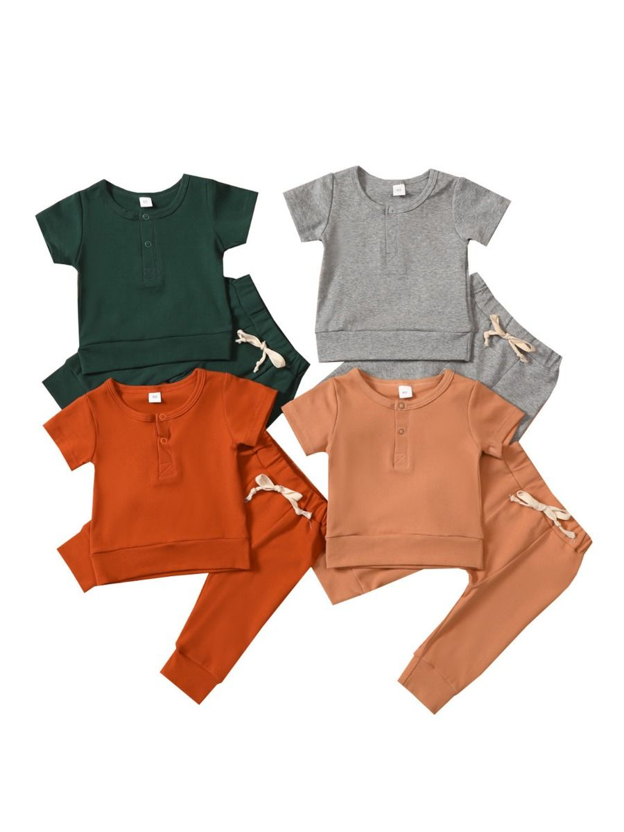 Toddler Sets Rainbow Top And Cartoon Print Pants  Wholesale BABIES 2021-08-19