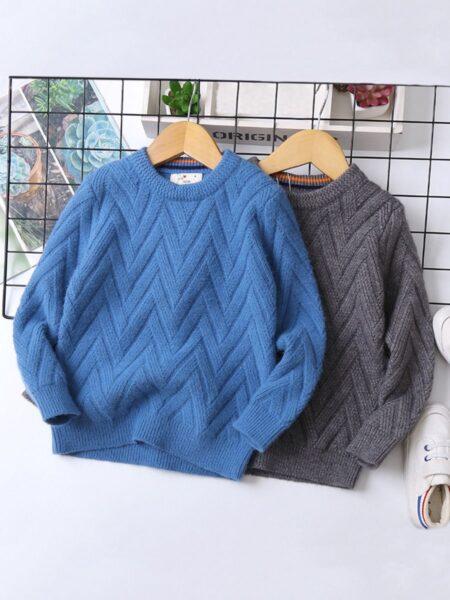 Big Boy Plain Texture Sweater  Wholesale BOYS 2021-08-23