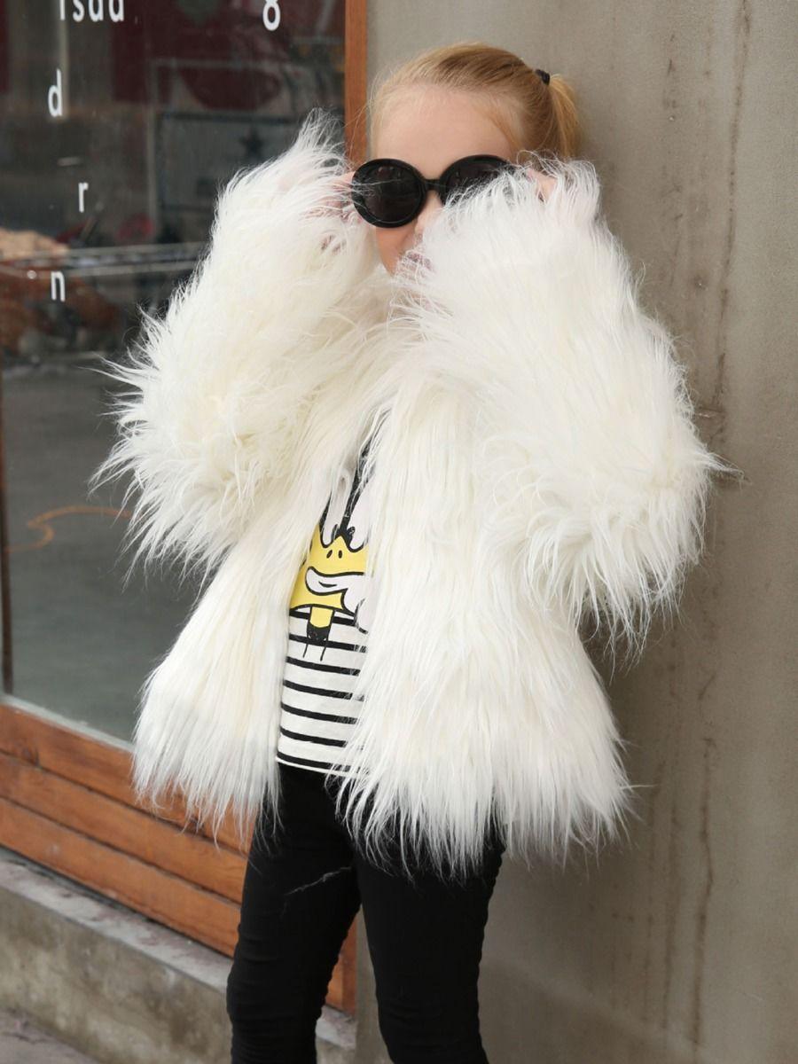 Solid Color Faux Fur Coat For Girls  Wholesale