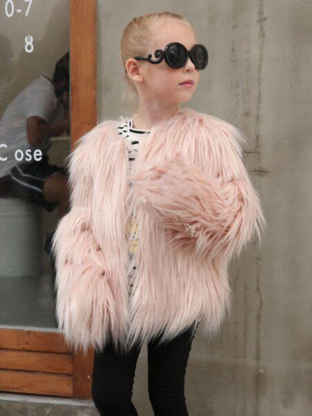 Solid Color Faux Fur Coat For Girls  Wholesale 2