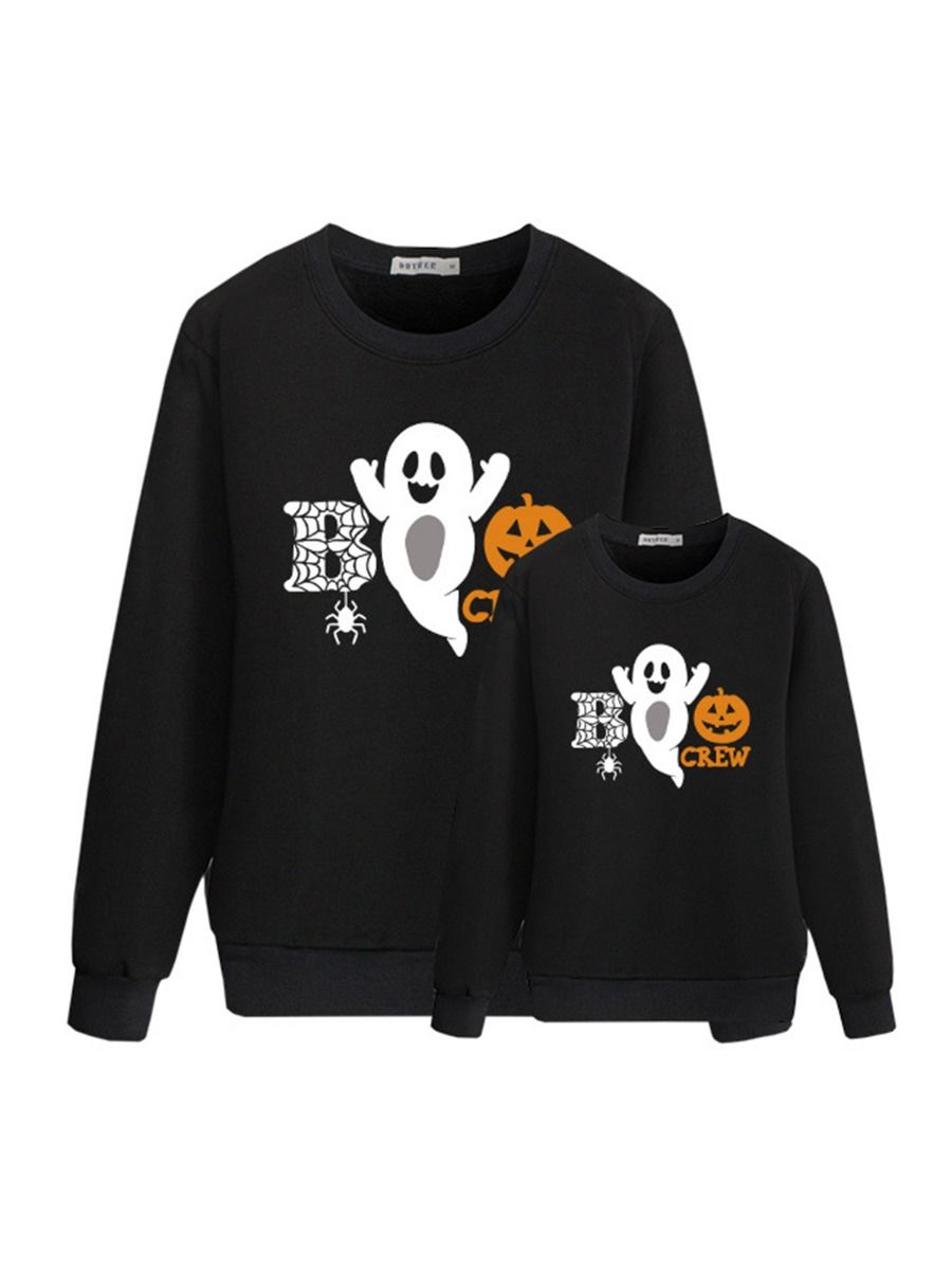 Letter Ghost Print Mommy And Me Halloween Sweatshirts FAMILY MATCHING 2021-08-27