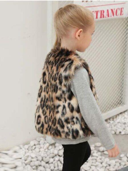 Leopard Print Little Kid Girl Faux Fur Vest  Wholesale Girls 2