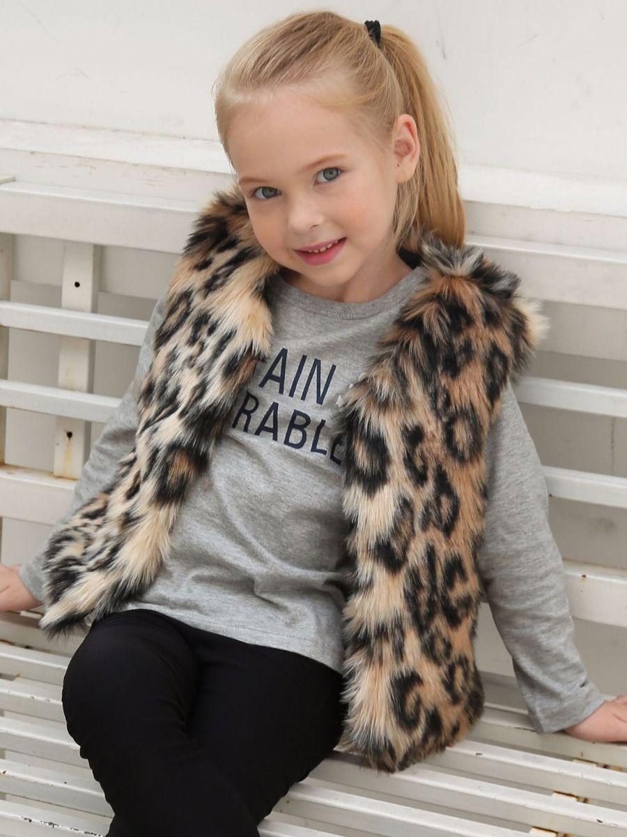 Leopard Print Little Kid Girl Faux Fur Vest  Wholesale Girls