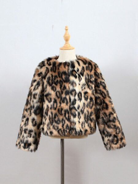 Leopard Print Faux Fur Coats For Girls  Wholesale 2