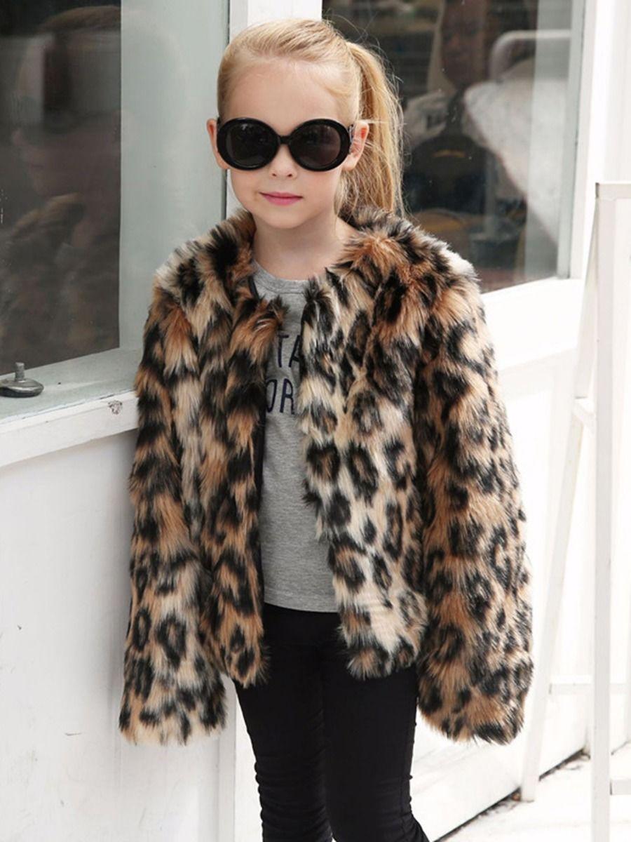 Leopard Print Faux Fur Coats For Girls  Wholesale