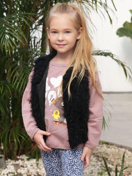 Solid Color Faux Fur Vest For Girl  Wholesale 2