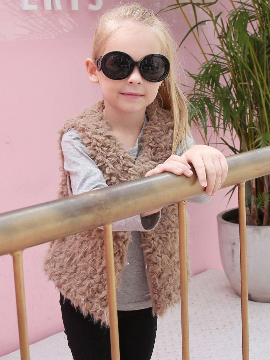 Solid Color Faux Fur Vest For Girl  Wholesale