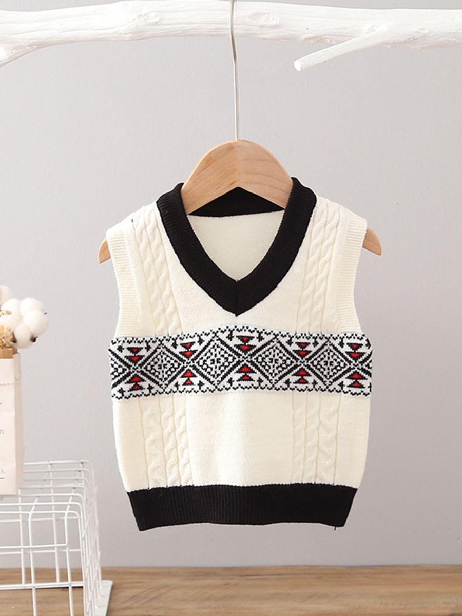 Diamond Decor Knitting Toddler Boys Sweater Vest Wholesale BABIES 2021-08-31