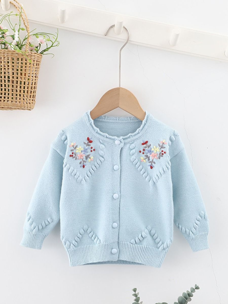 Embroidered Flower Knitted Cardigan For Toddler Girls  Wholesale BABIES 2021-08-31