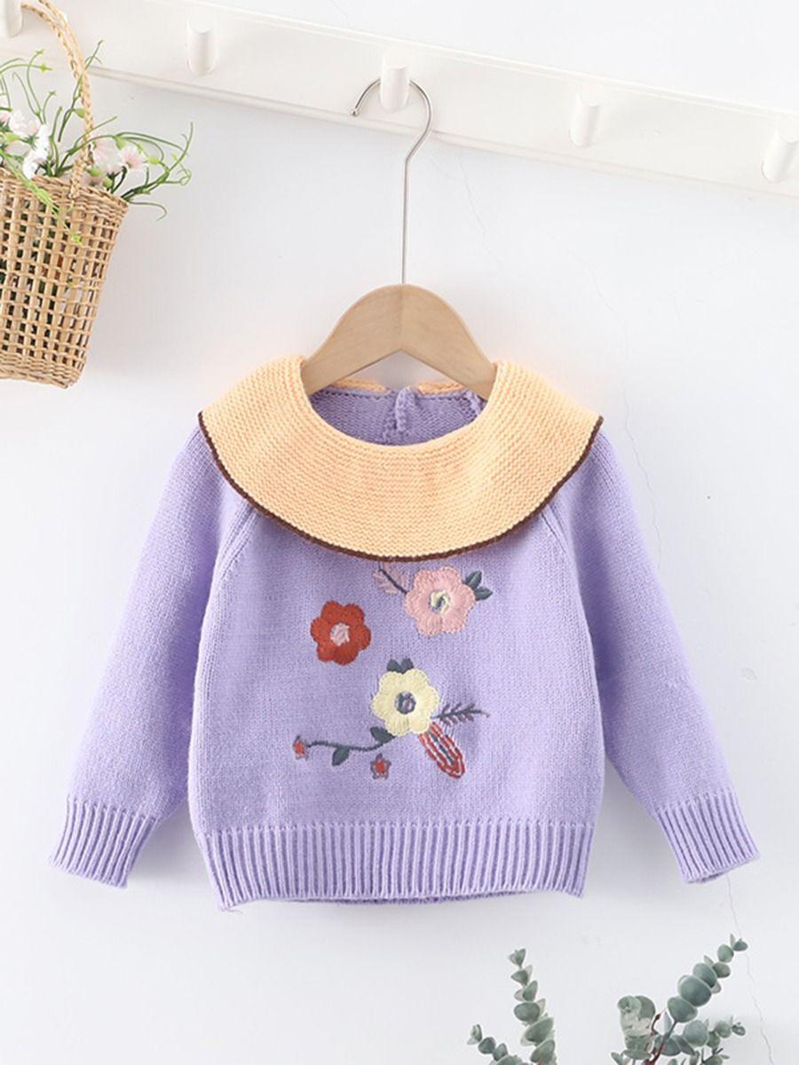 Embroidered Flower Knitting Little Girls Sweater Jumper  Wholesale BABIES 2021-08-31