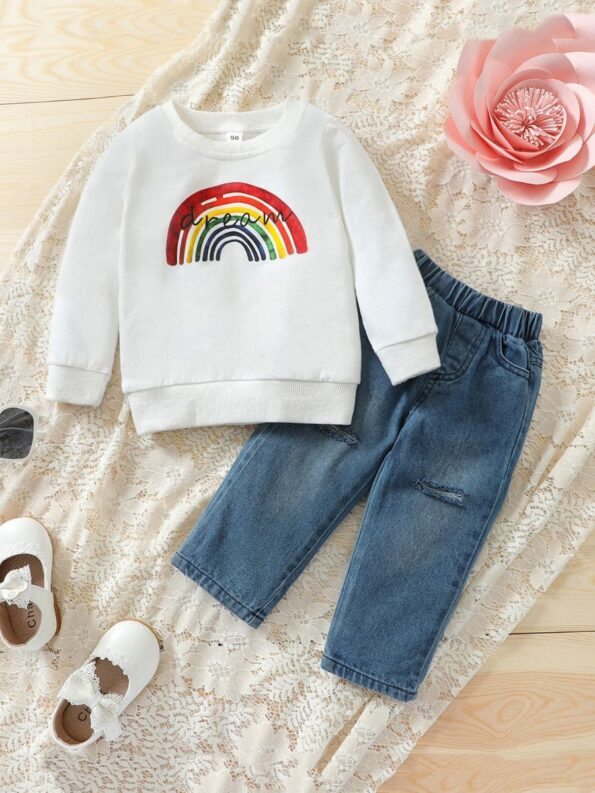 Two Pieces Rainbow Kid Girl Outfits Sets Top Matching Ripped Jeans  Wholesale 10