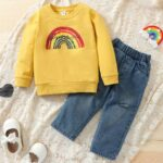 Two Pieces Rainbow Kid Girl Outfits Sets Top Matching Ripped Jeans  Wholesale 5