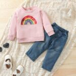 Two Pieces Rainbow Kid Girl Outfits Sets Top Matching Ripped Jeans  Wholesale 4