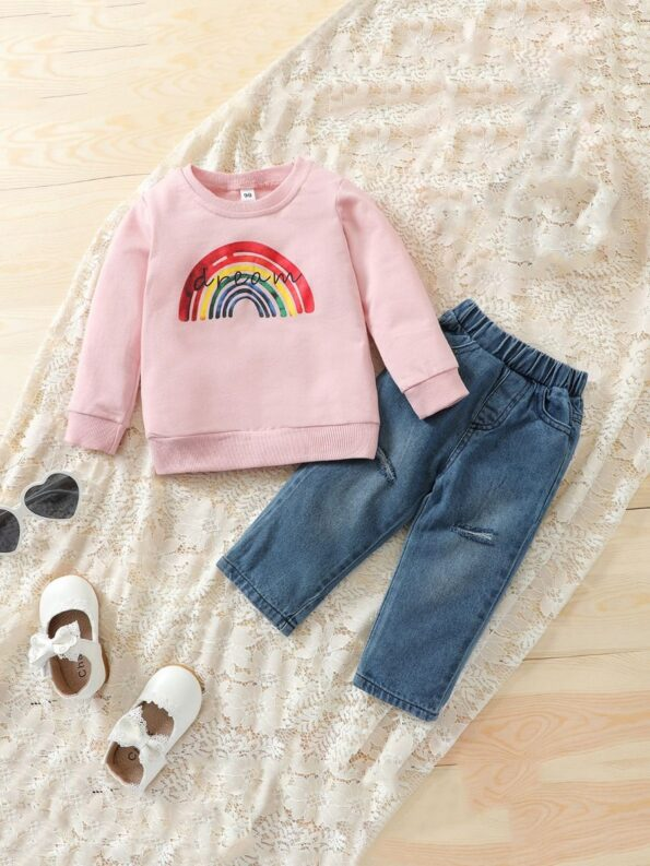 Two Pieces Rainbow Kid Girl Outfits Sets Top Matching Ripped Jeans  Wholesale 11