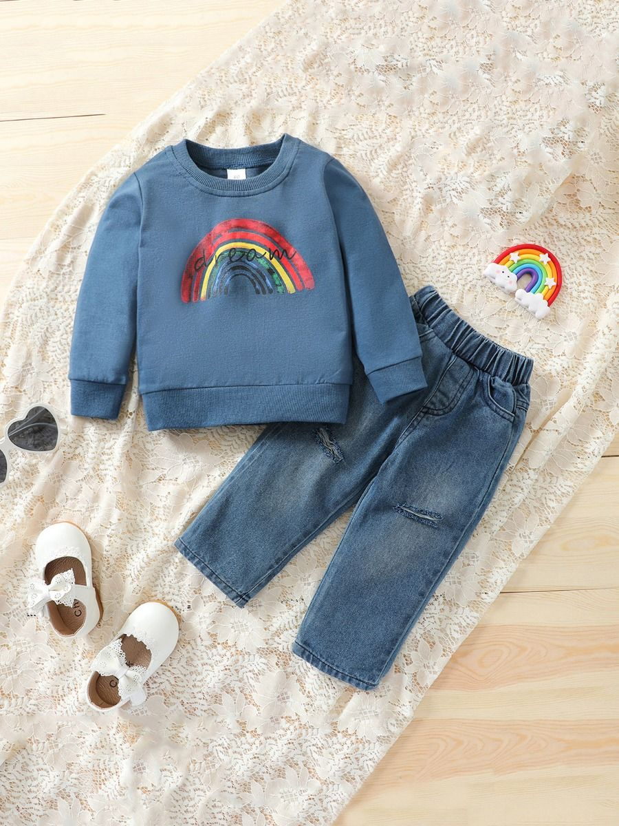 Two Pieces Rainbow Kid Girl Outfits Sets Top Matching Ripped Jeans  Wholesale 2