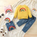Two Pieces Rainbow Kid Girl Outfits Sets Top Matching Ripped Jeans  Wholesale 6
