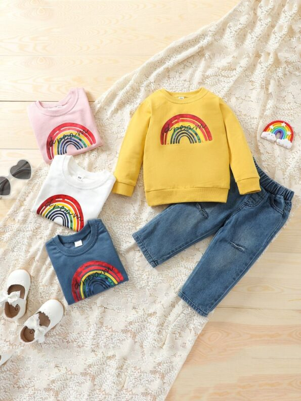Two Pieces Rainbow Kid Girl Outfits Sets Top Matching Ripped Jeans  Wholesale 13