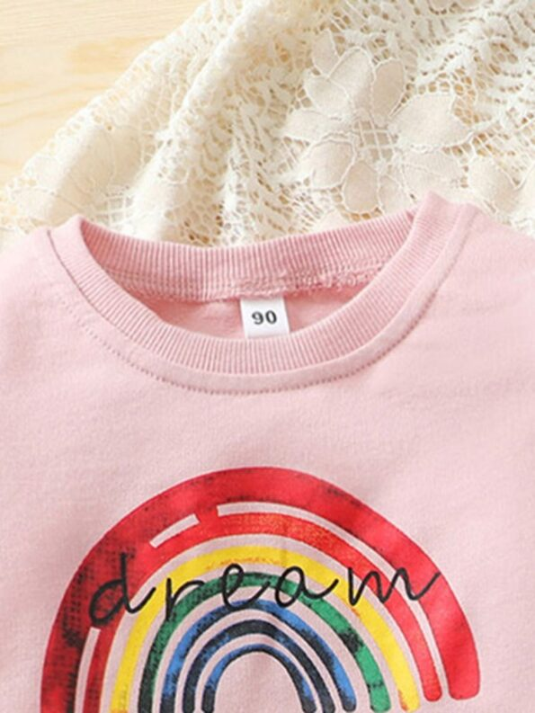 Two Pieces Rainbow Kid Girl Outfits Sets Top Matching Ripped Jeans  Wholesale 14