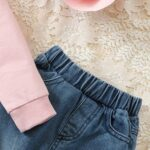 Two Pieces Rainbow Kid Girl Outfits Sets Top Matching Ripped Jeans  Wholesale 9