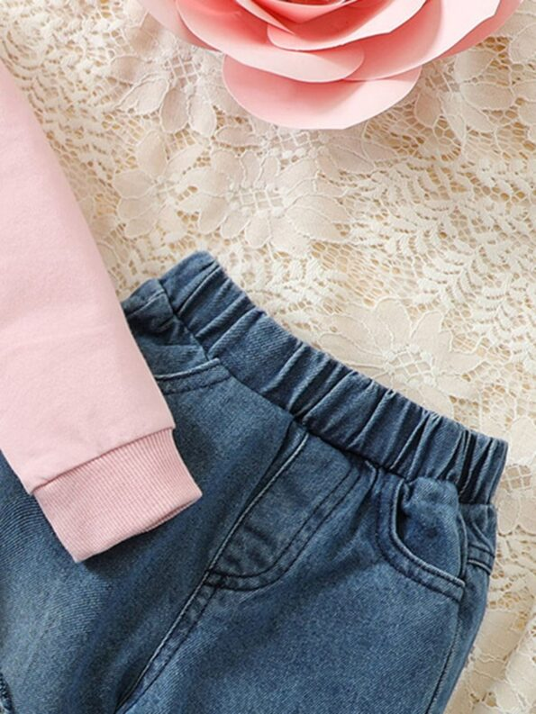 Two Pieces Rainbow Kid Girl Outfits Sets Top Matching Ripped Jeans  Wholesale 16