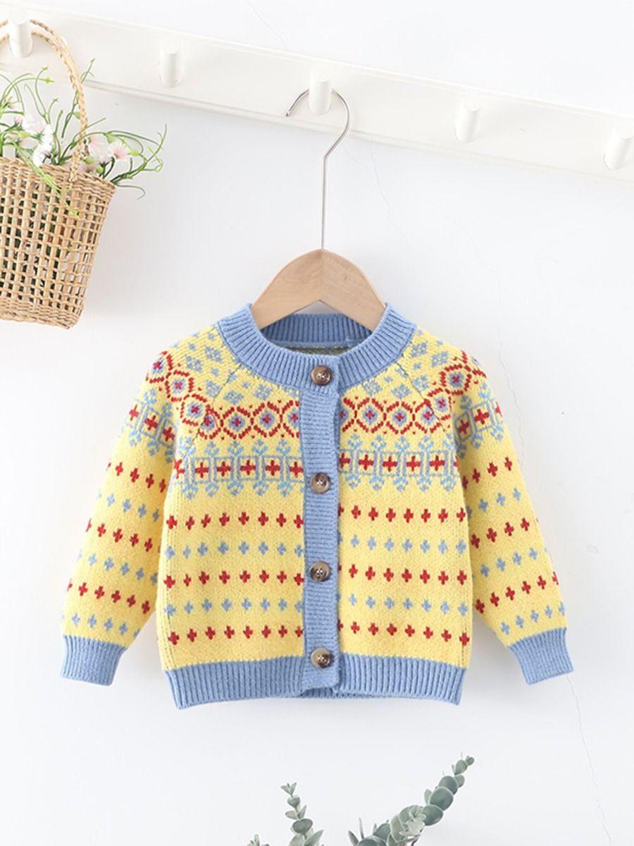 Diamond Jacquard Knitting Toddler Kids Cardigan  Wholesale BABIES 2021-08-31
