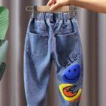 Rainbow Sun Letter Print Kid Boy Jeans  Wholesale 3