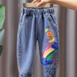 Rainbow Sun Letter Print Kid Boy Jeans  Wholesale 4