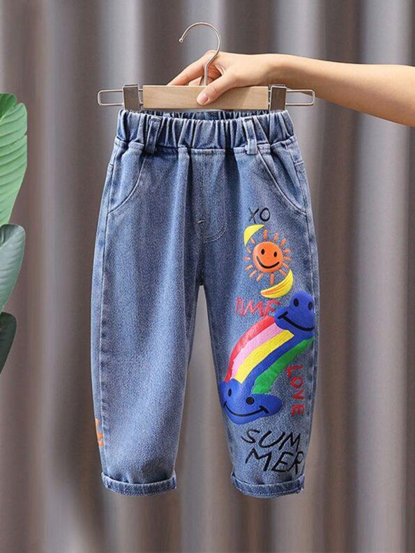 Rainbow Sun Letter Print Kid Boy Jeans  Wholesale 8